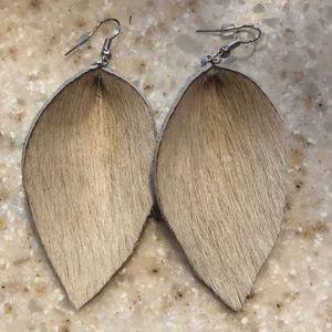 Cream cow hair on hide leaf earrings